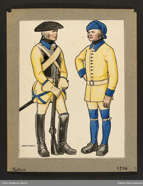 Motiv med ryttare som visar utrustning, uniform och tillbehör vid Smålands husarregemente 1756.