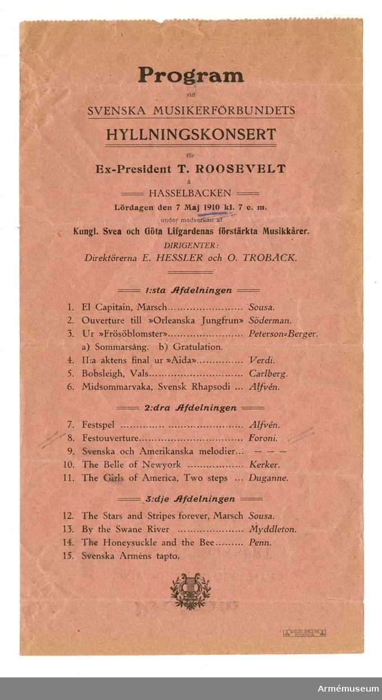 Grupp M I. Program för militärkonsert på Hasselbacken den 7 maj 1910.