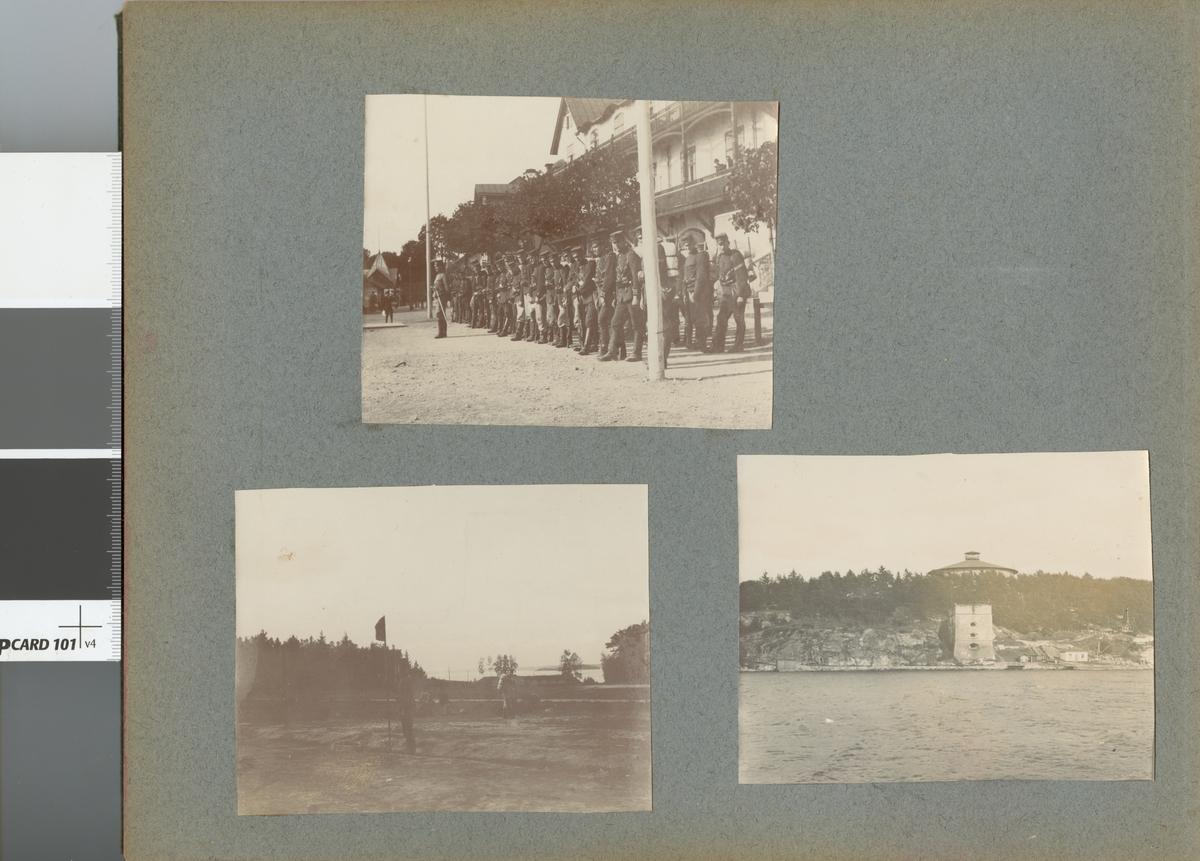 Uppställning framför byggnad, Fortifikationen.