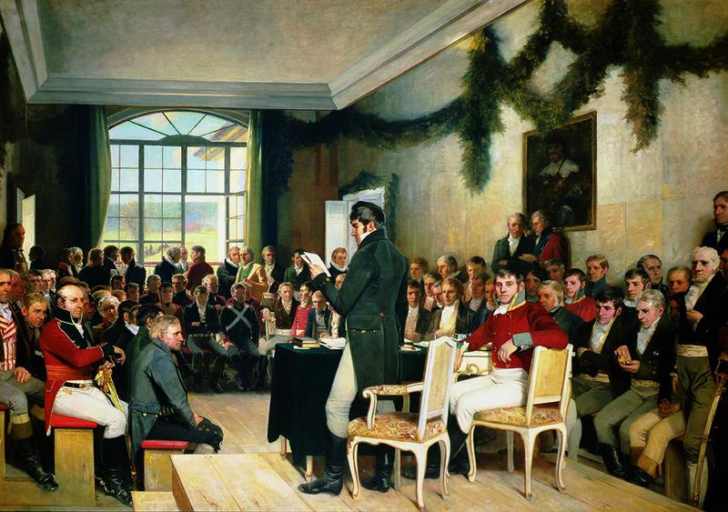 Eidsvold 1814 av Oscar Wergeland (1844 – 1910). Malt 1884 – 1885. Stortinget / Stortingets kunstsamling. (Foto/Photo)