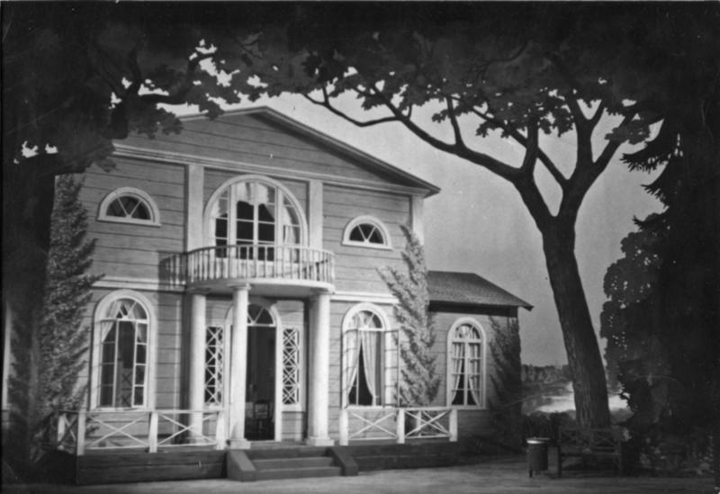 Kulisse til oppsetningen av Tsjaikovskijs opera «Eugen Onegin» på Kungliga Teatern i Stockholm våren 1947. (Foto/Photo)