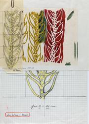 Tre malt skisser heftet sammen, til trykt dekorasjons-/ gard