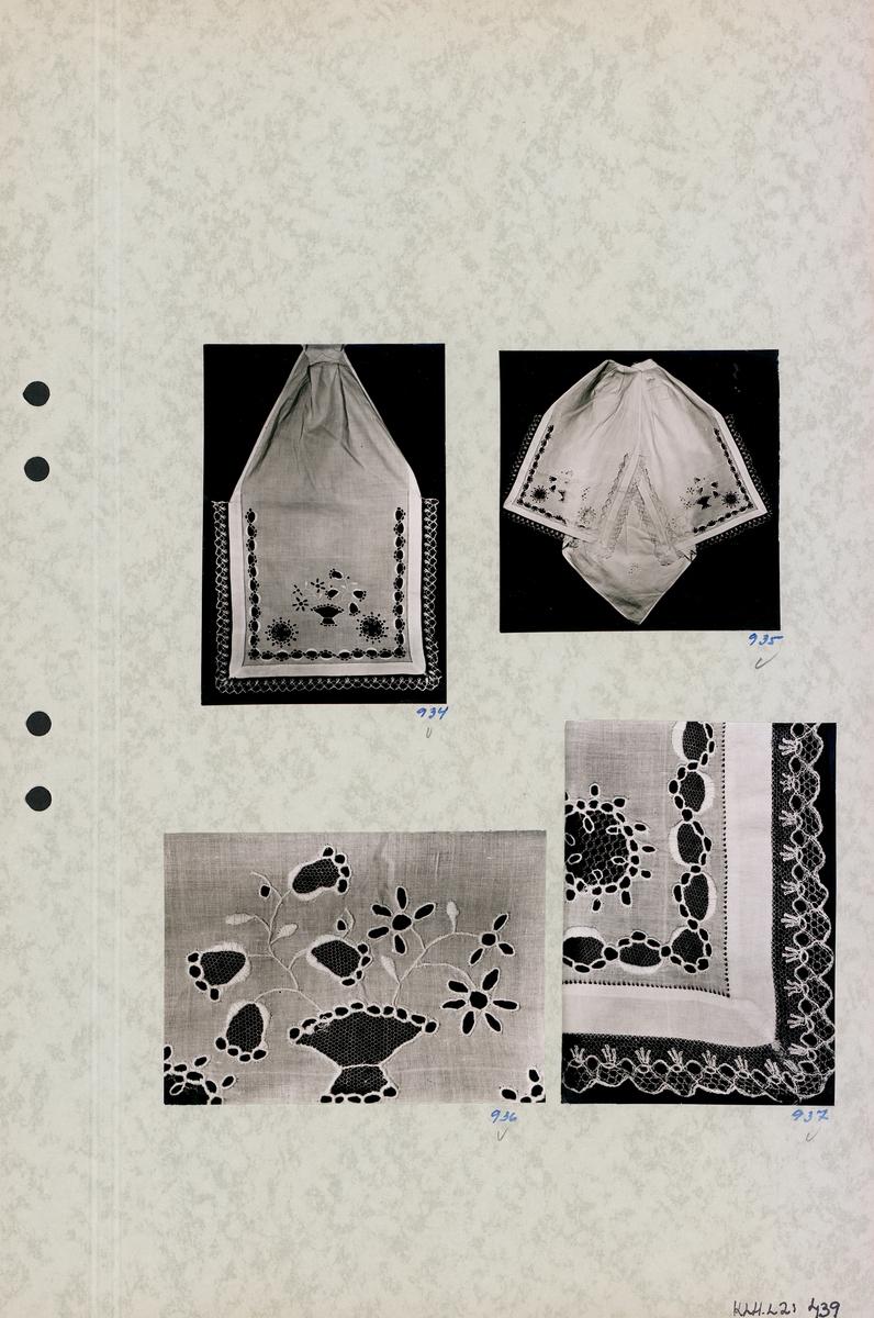 Kartongark med fyra foton av klut.
