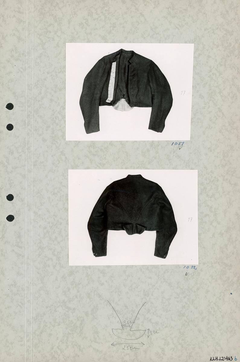 Kartongark med två foton av tröja.
