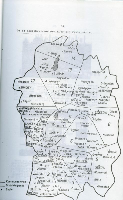 De 14 skolekretsene med hver sin faste skole