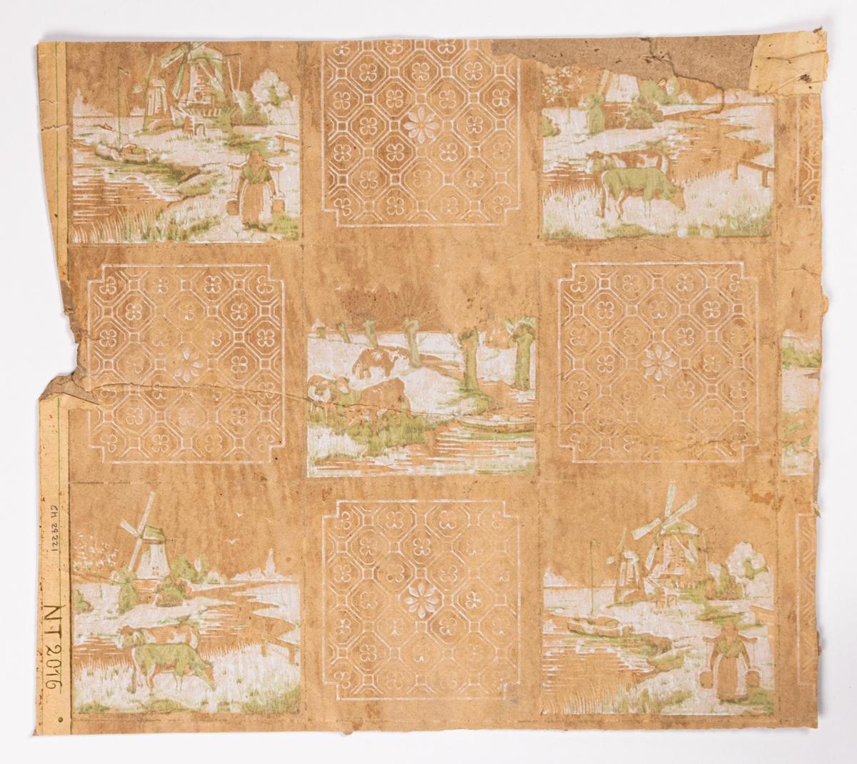 Kakelimiterande mönster bla bestående av landskapsmotiv. Tryck i vitt och ljusgrönt på ett ofärgat papper.