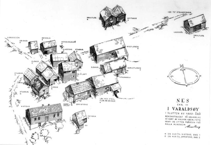 Slik kan tunet på Nes havretten ut, ca. 1880.