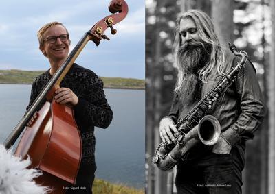 Sigurd Hole med sin kontrabass og Trygve Seim med sin saksofon.. Foto/Photo