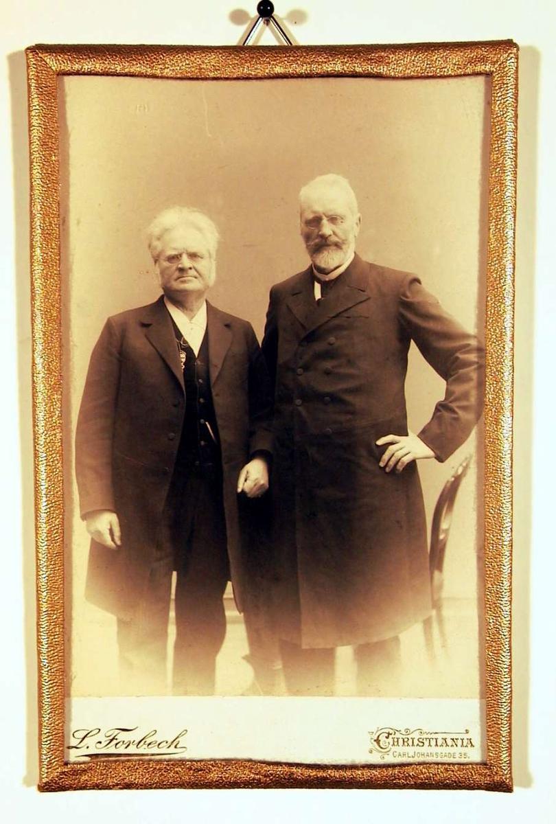 Dobbeltportrett av to eldre herrer stående med stuevegg i bakgrunnen. De ser begge direkte på betrakteren.