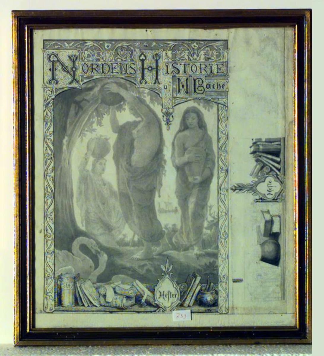 Illustrasjon til Nordens Historie af N Bache. Klassisk motiv; kvinner med krukker, svaner, hjorter, omkranset av ranker og bøker på en hylle (bl.a. Saxo, Snorre)