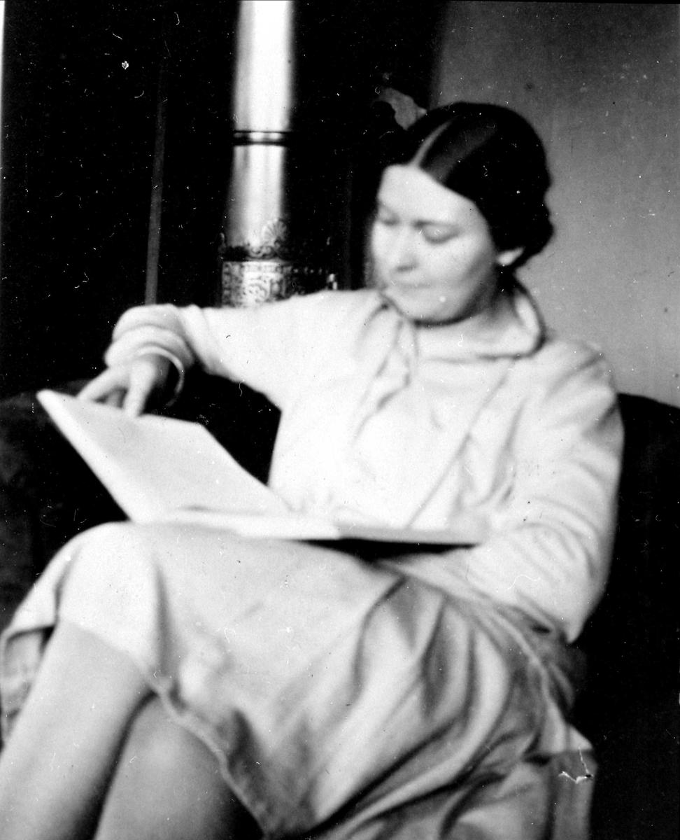 Kvinne, ukjent, bok, lese,