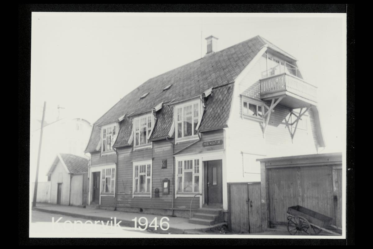 eksteriør, postkontor, 4250 Kopervik, innstikkpostkasse, postskilt