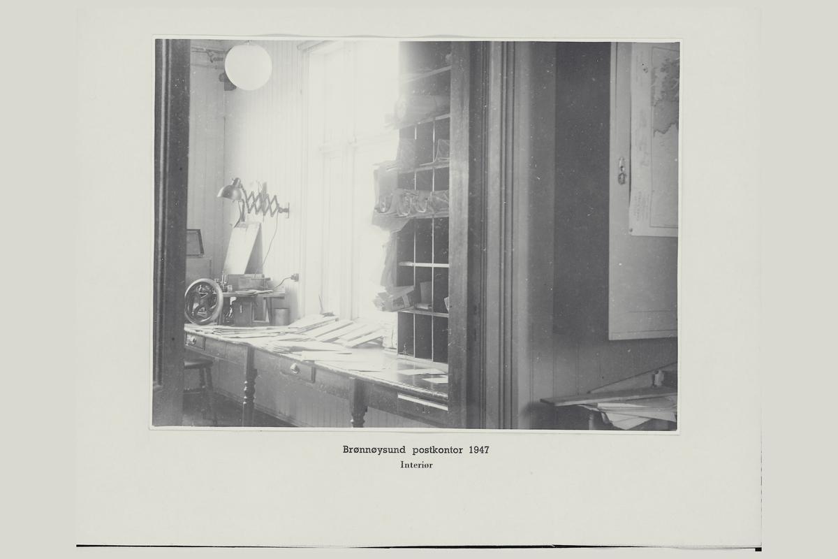 interiør, postkontor, 8300 Brønnøysund, brevstemplingsmaskin