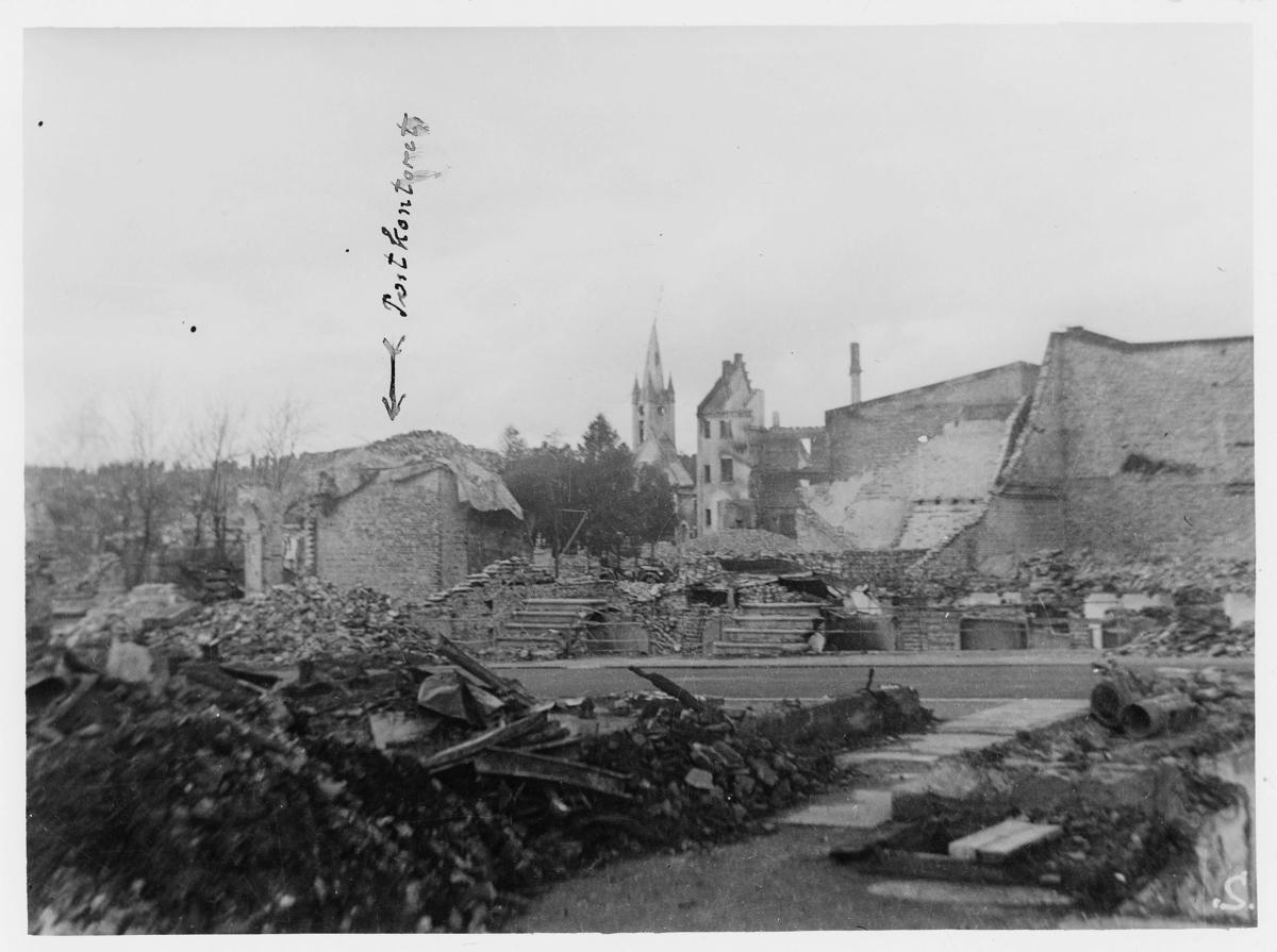 krigen, Steinkjær, postkontoret i ruiner
