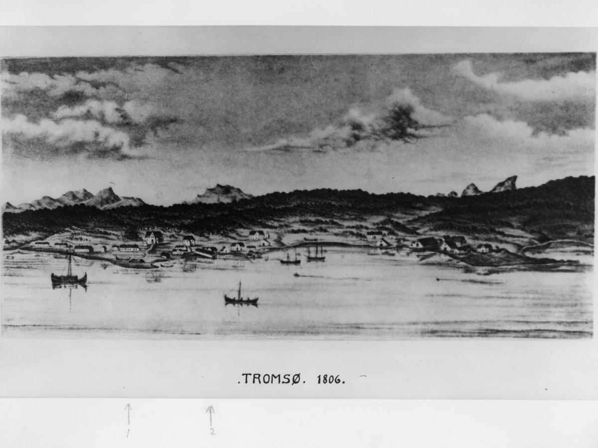 maleri, Tromsø, landskapsbilde, båter, poståpneri, Giævers butikk, postkontor