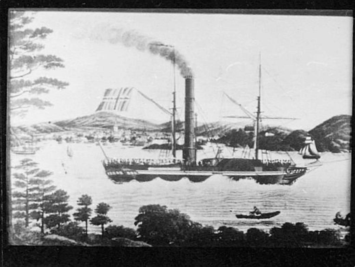 tegning, Kristiansand, dampskip, Constitutionen