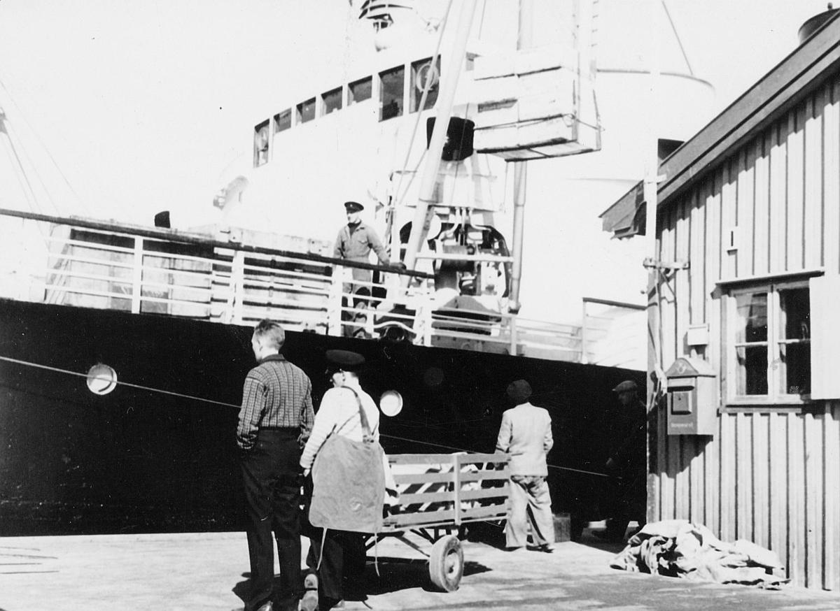 transport, båt, postbud, postkasse, postsekker, menn