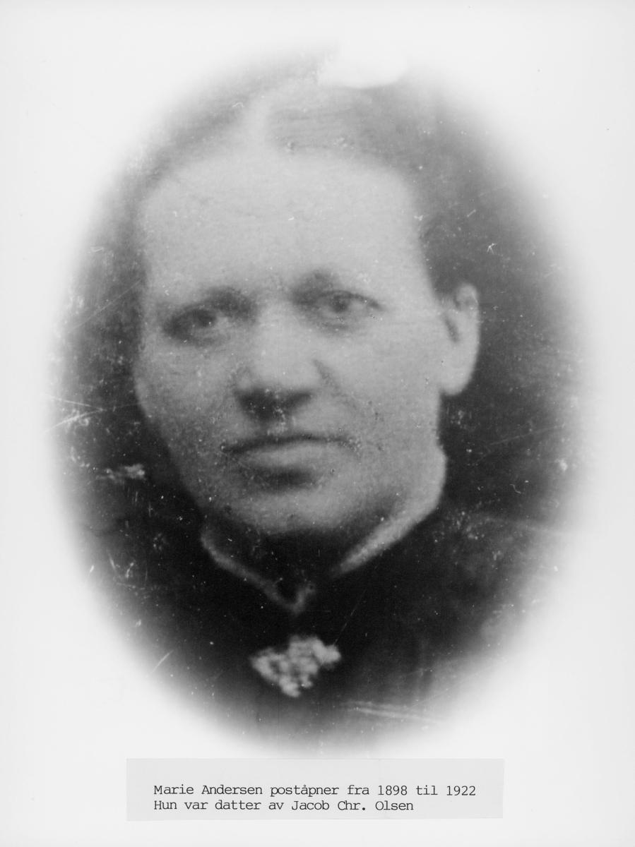 portrett, kvinne, poståpner, Marie Andersen