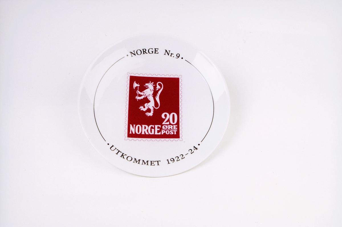 postmuseet, gjenstander, platte, frimerkeplatte, Norge nr 9, Løve 1, Norge 20 øre post, utkommet 1922-24