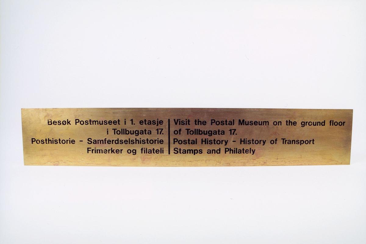 postmuseet, gjenstander, skilt, opplysningsskilt for postmuseet