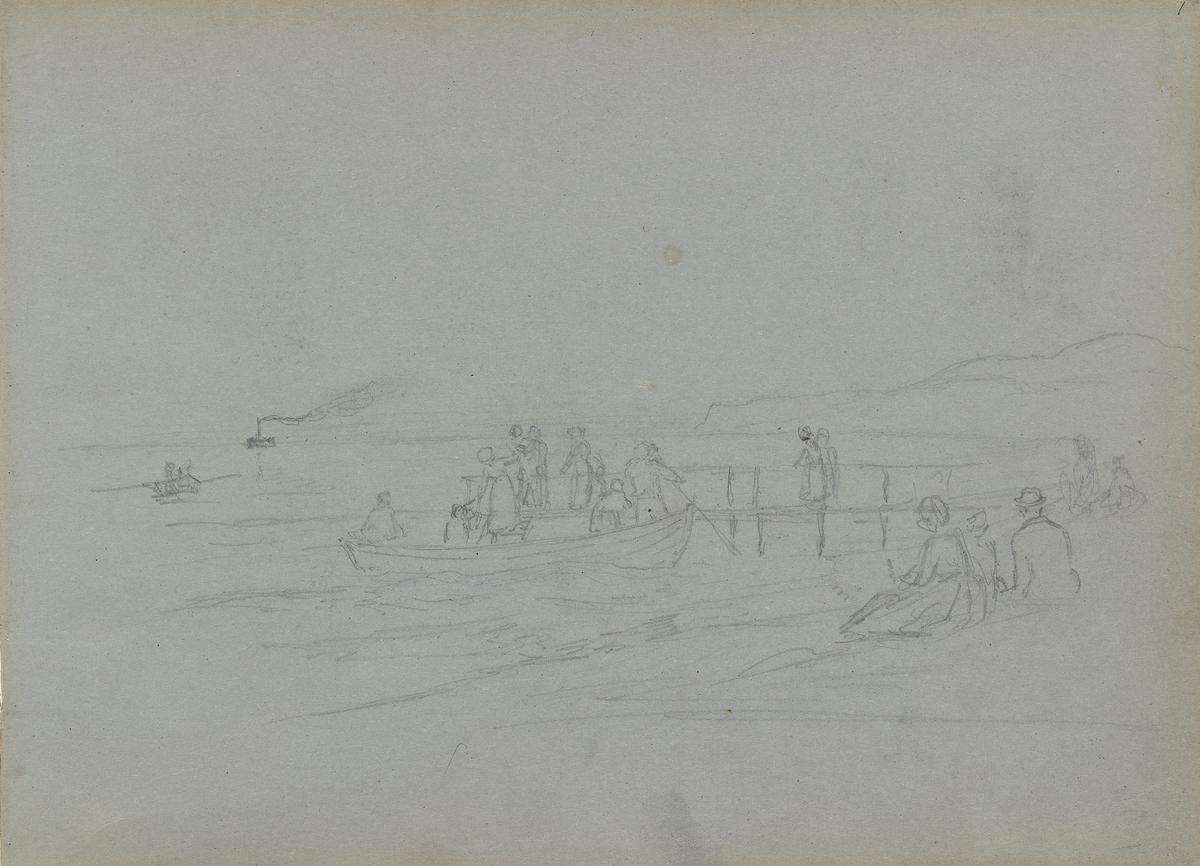 Figurer og båter ved brygge [Tegning]