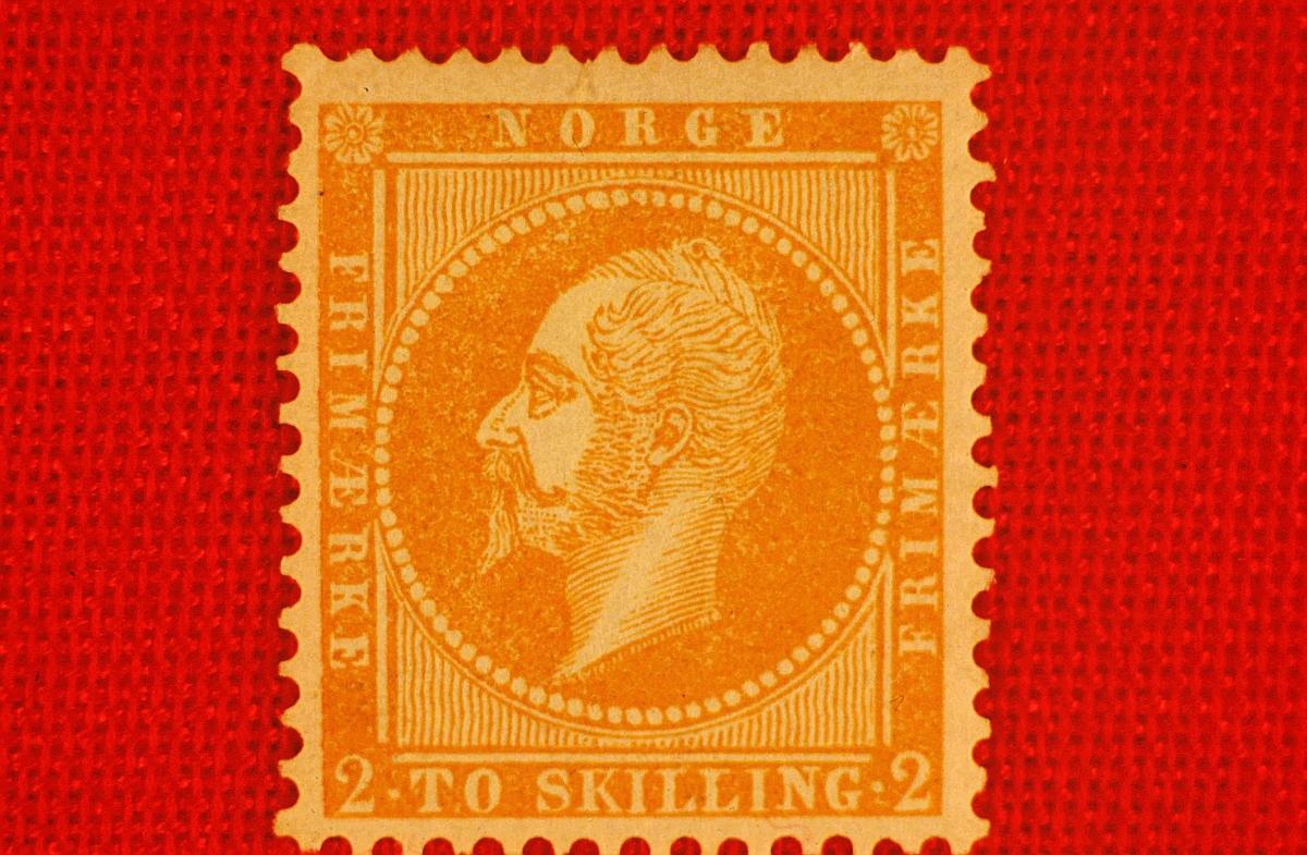 postmuseet, Kirkegata 20, frimerker, NK 2, Kong Oscar I, 1856/57, 2 skilling