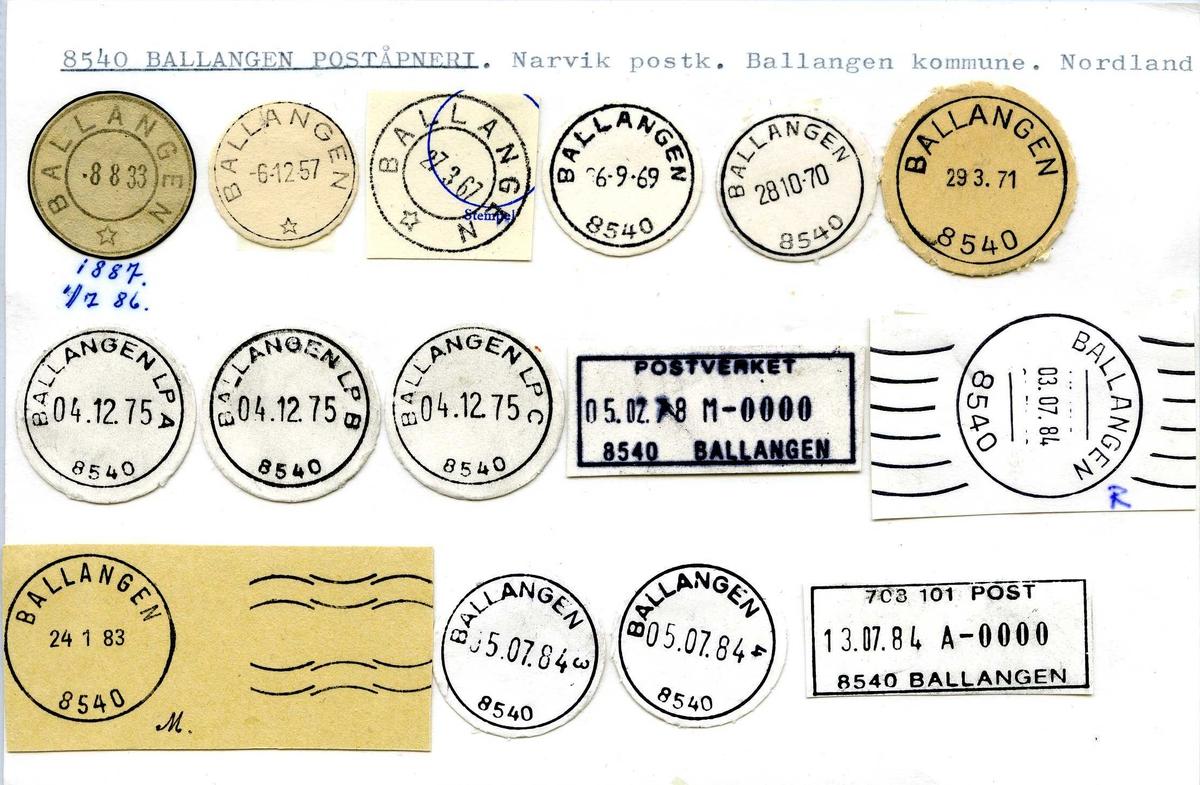 Stempelkatalog, 8540 Ballangen poståpneri. Narvik postkontor. Ballangen kommune. Nordland fylke.