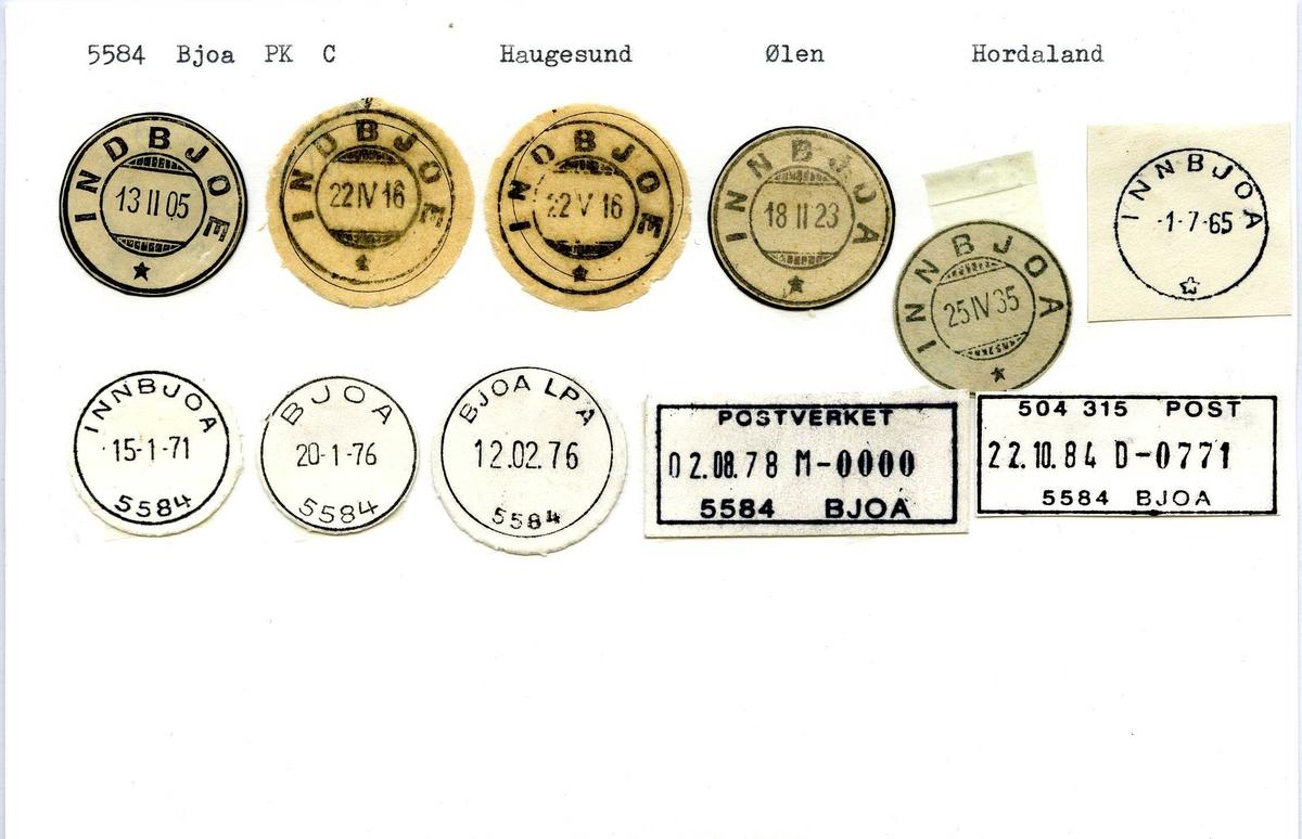 Stempelkatalog, 5584 Bjoa, (Indbjoa, Innbjoa) Haugesund, Ølen, Hordaland