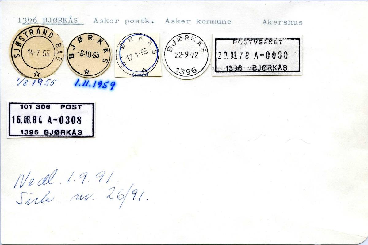 Stempelkatalog,1396 Bjørkås, Asker postk. Asker kommune, Akershus