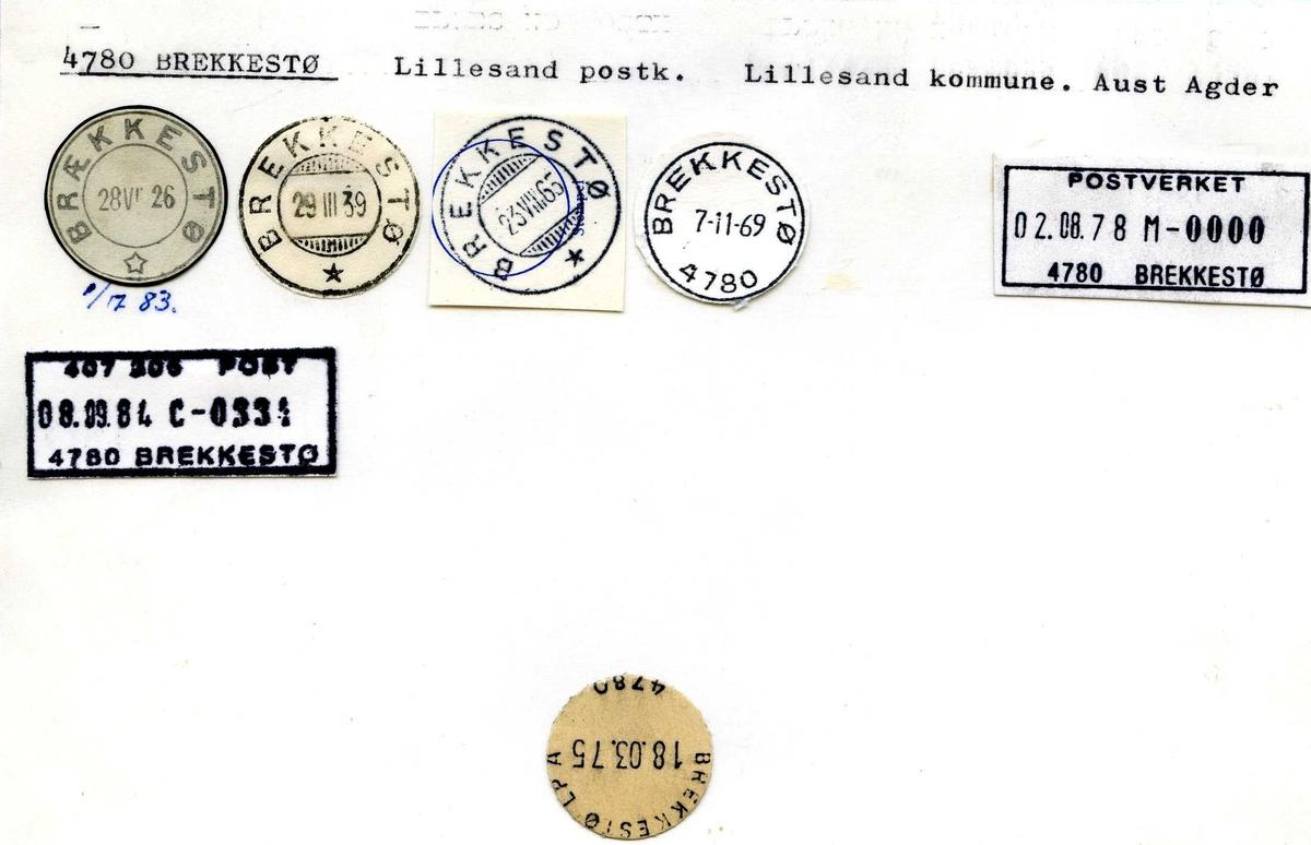 Stempelkatalog, 4780 Brekkestø, Lillesand postk., Lillesand kommune, Aust-Agder