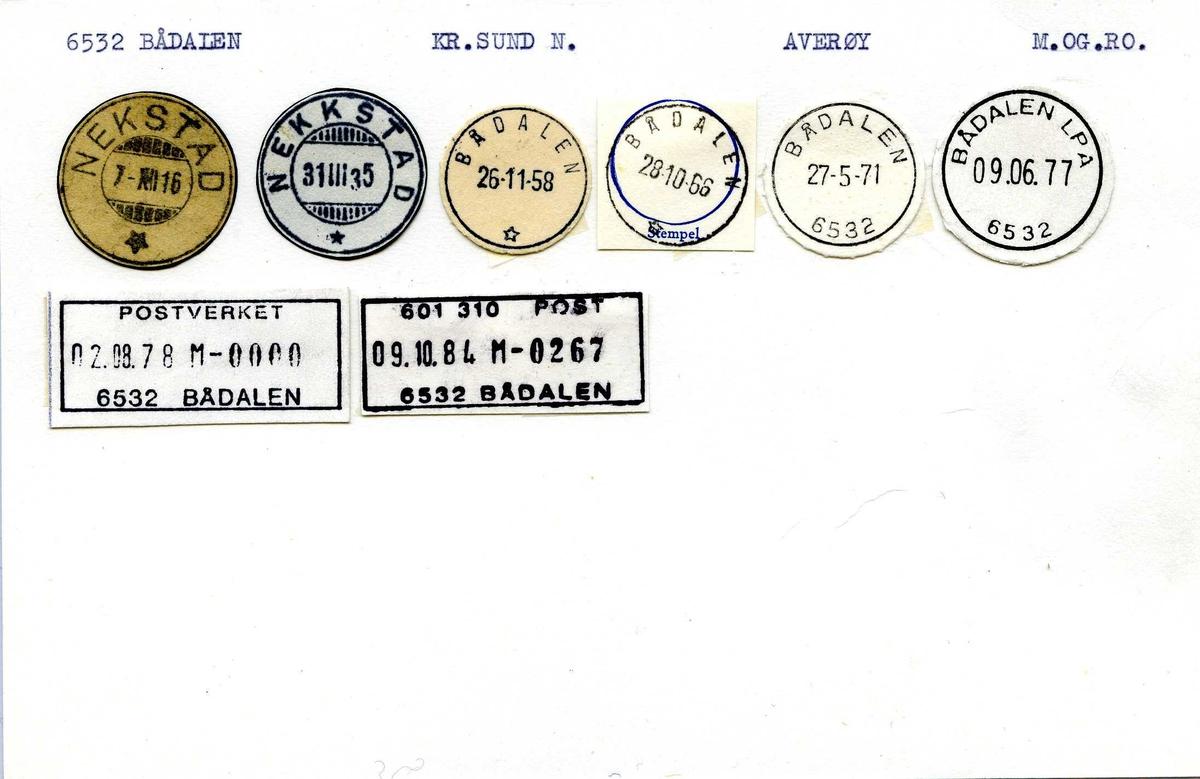 Stempelkatalog, 6532 Bådalen, Kr.sund, Averøy, M.og R.dal (Nekstad, nekkstad)