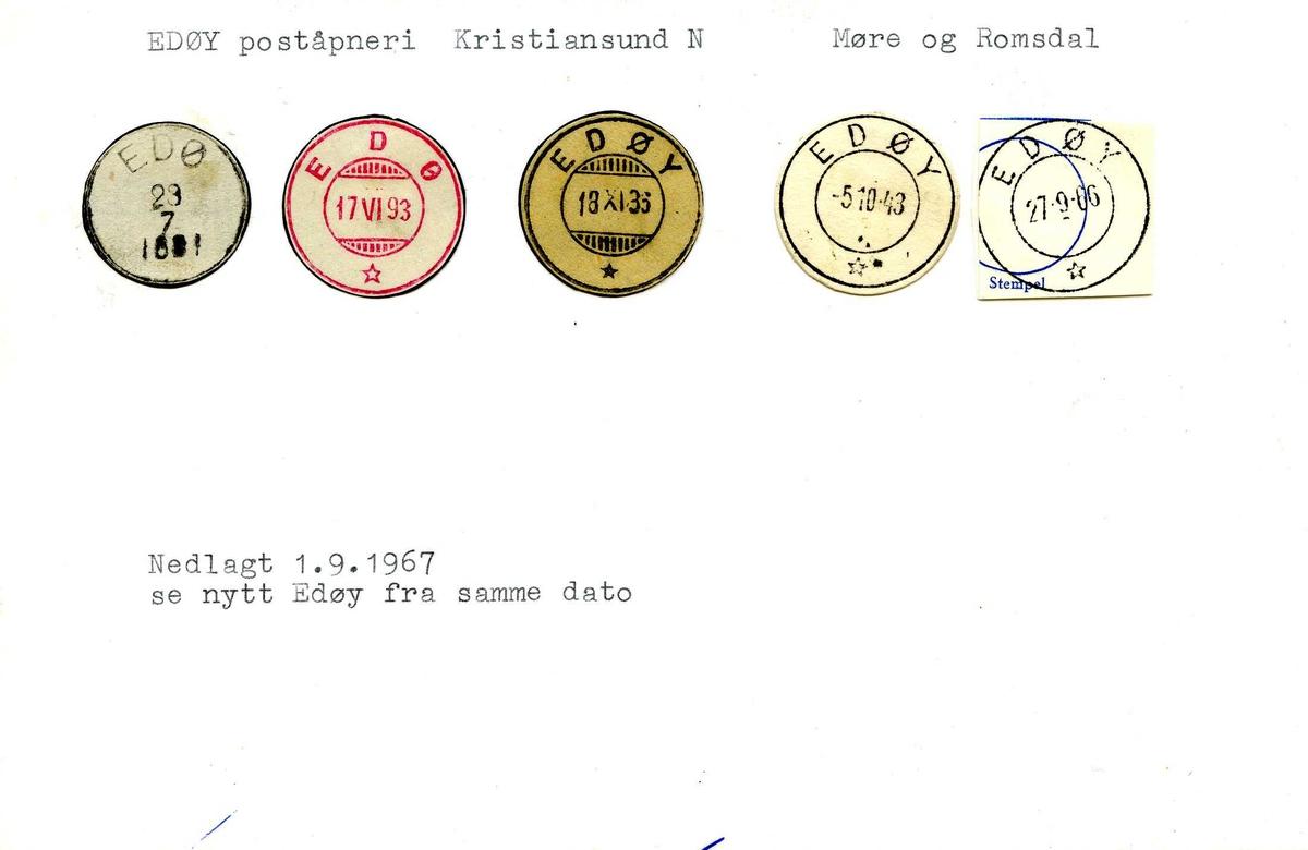 Stempelkatalog, 6589, Edøy (Edø,Tyrhaug, Kyrhaug), Kristiansund, Smøla, Møre og Romsdal