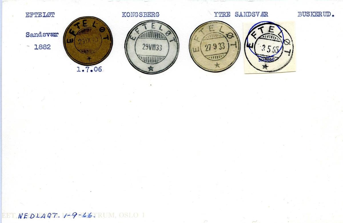 Stempelkatalog,Efteløt, Kongsberg, Ytre Sandsvær, Buskerud (Sandsvær til 1882)