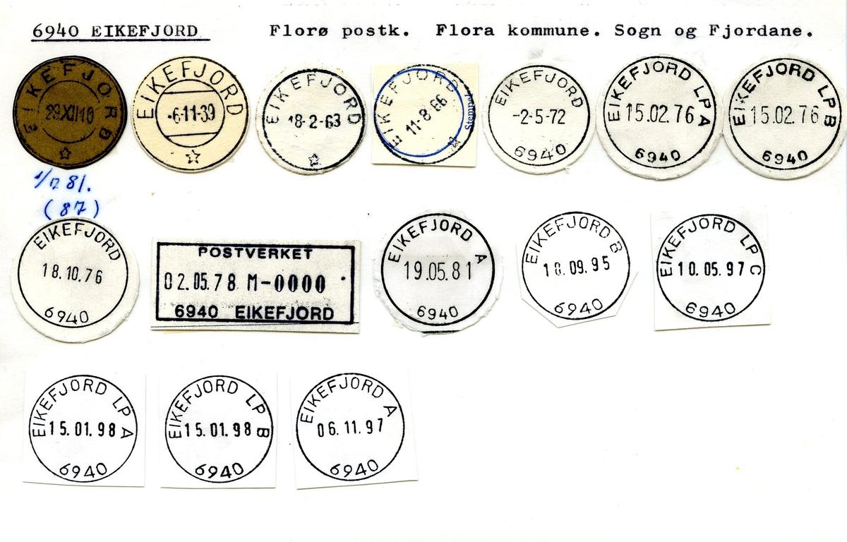 Stempelkatalog, 6940 Eikefjord, Florø, Flora, Sogn og Fjordane