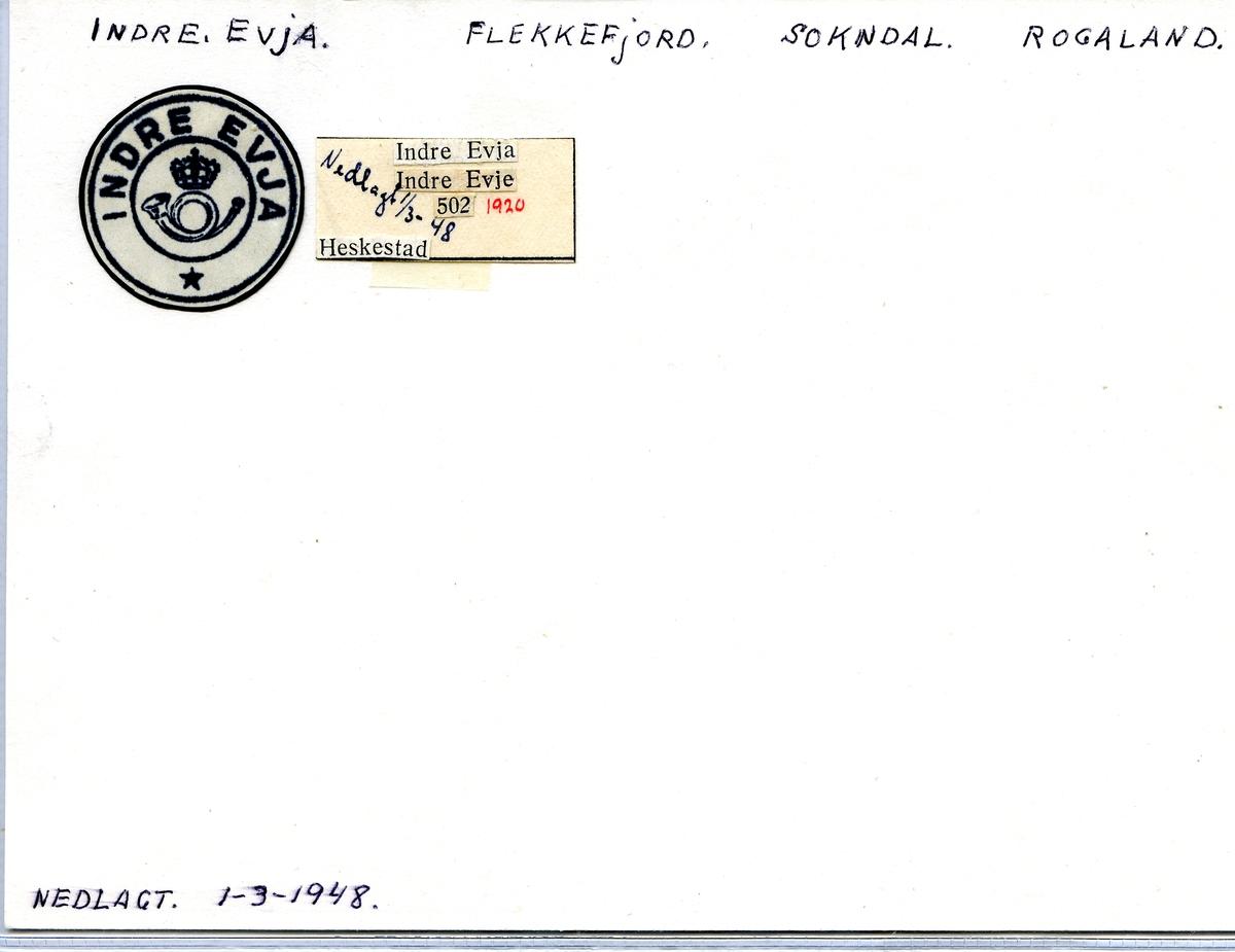 Stempelkatalog. Indre Evja. Flekkefjord postkontor. Sokndal kommune. Rogaland fylke.