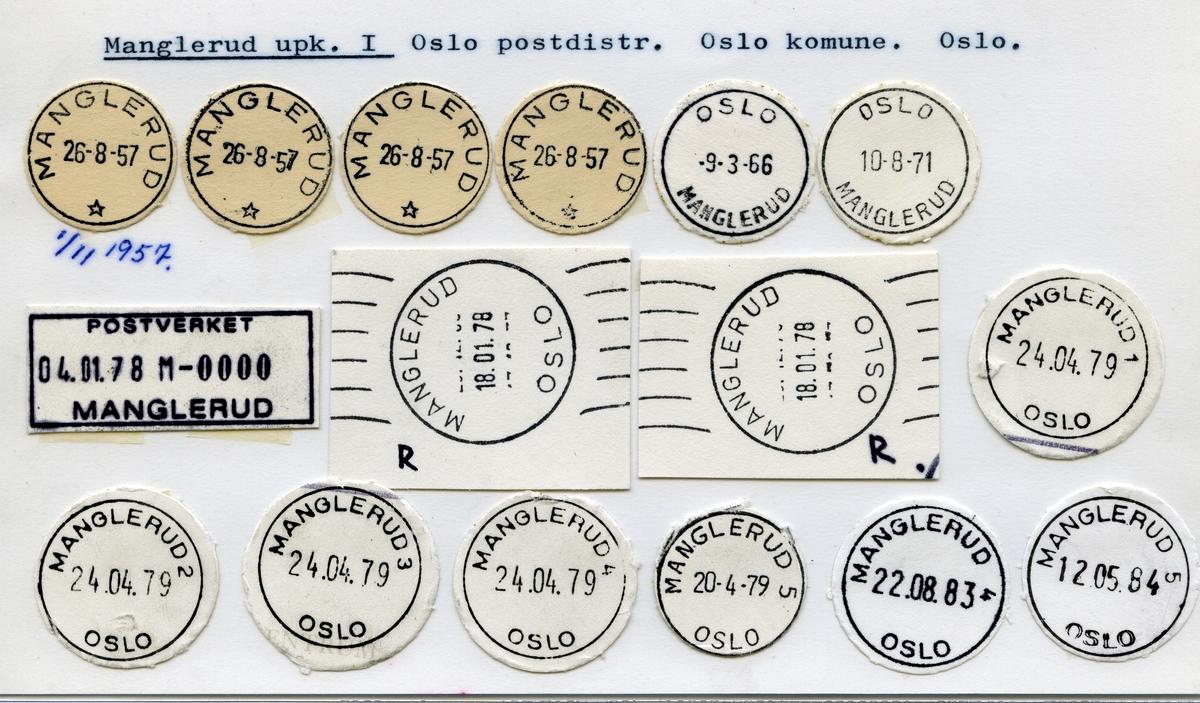 Stempelkatalog, Manglerud, Oslo postdistrikt, Oslo kommune