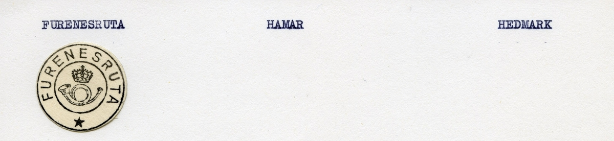Stempelkatalog.Furenesruta, Hamar, Hedmark