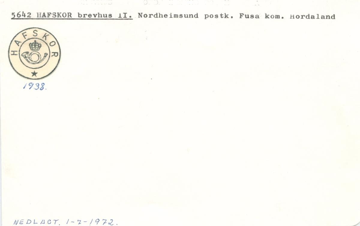 Stempelkatalog. 5642 Hafskor, Norheimsund, Fusa, Hordaland