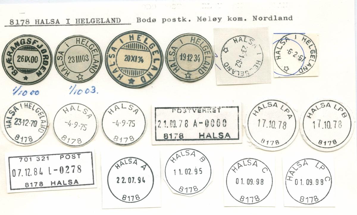 Stempelkatalog 8178 Halsa i Helgeland (Bjærangsfjorden), Meløy, Nordland
