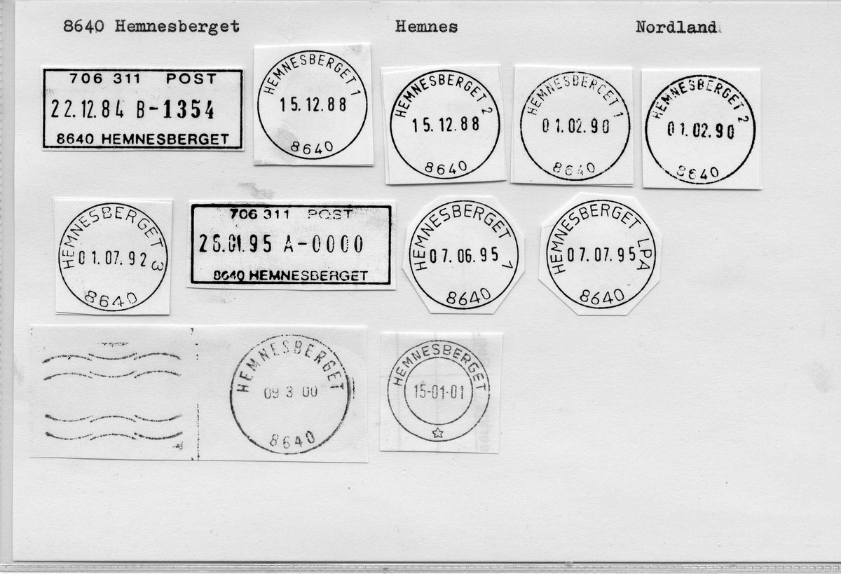 Stempelkatalog 8640 Hemnesberget (Hemnæs,), Hemnes, Nordland