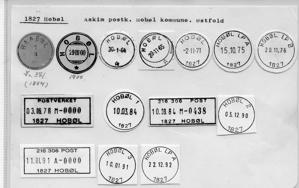 Stempelkatalog:1827 Hobøl, Askim postk., Hobøl kommune, Østfold