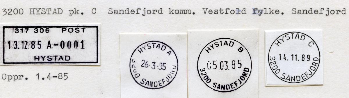 Stempelkatalog Hystad, Sandefjord kommune, Vestfold