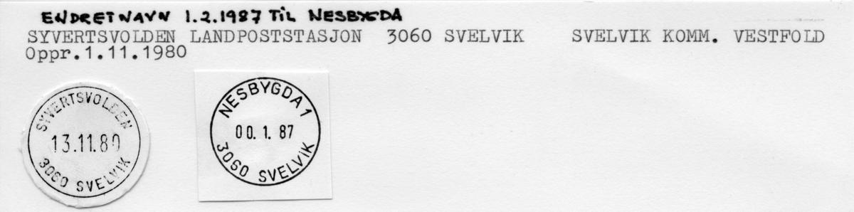 Stempelkatalog. Nesbygda landpoststasjon. 3060 Svelvik postkontor. Svelvik kommune. Vestfold fylke.