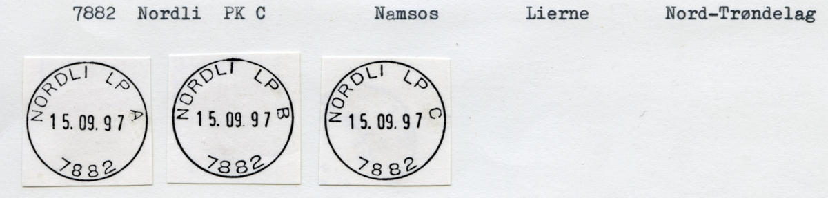 Stempelkatalog. 7882 Nordli. Namsos postkontor. Lierne kommune. Nord-Trøndelag fylke.