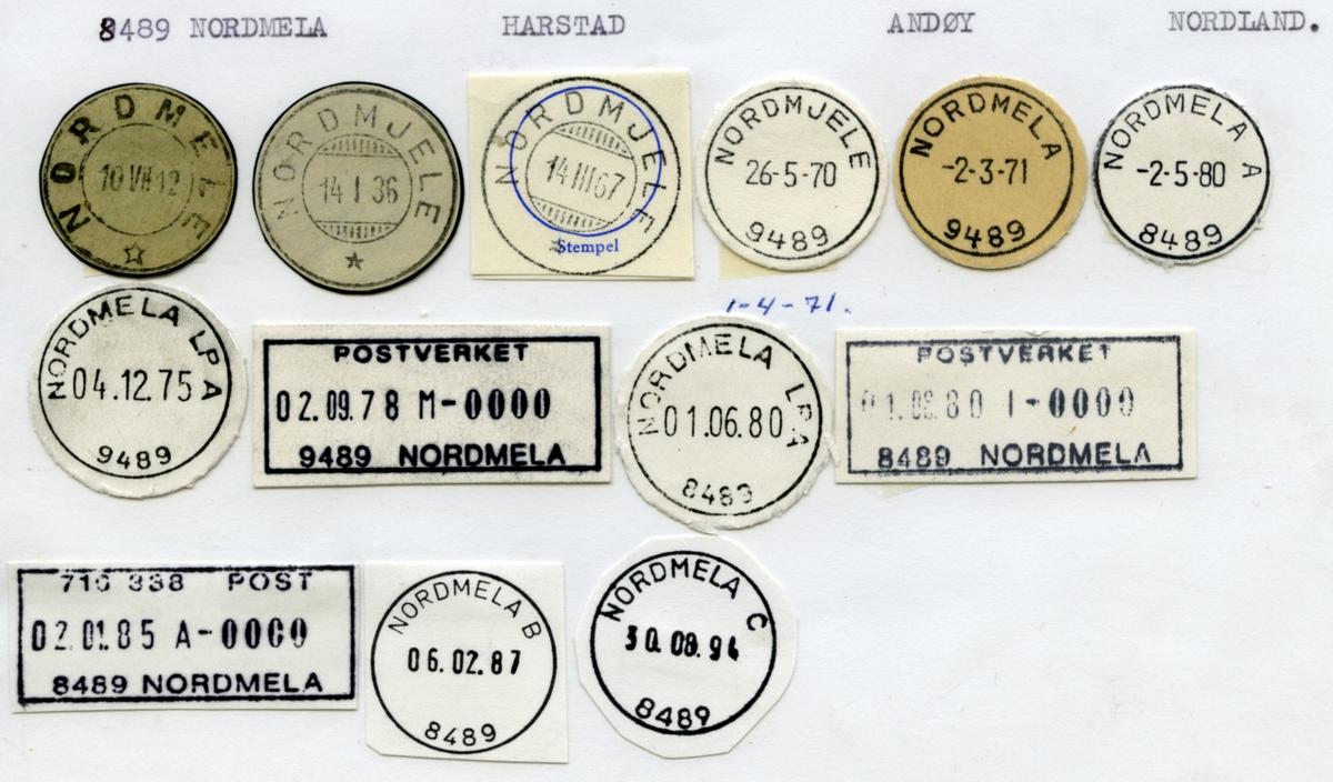 Stempelkatalog. 8489 Nordmela. Harstad postkontor. Andøy kommune. Nordland fylke.