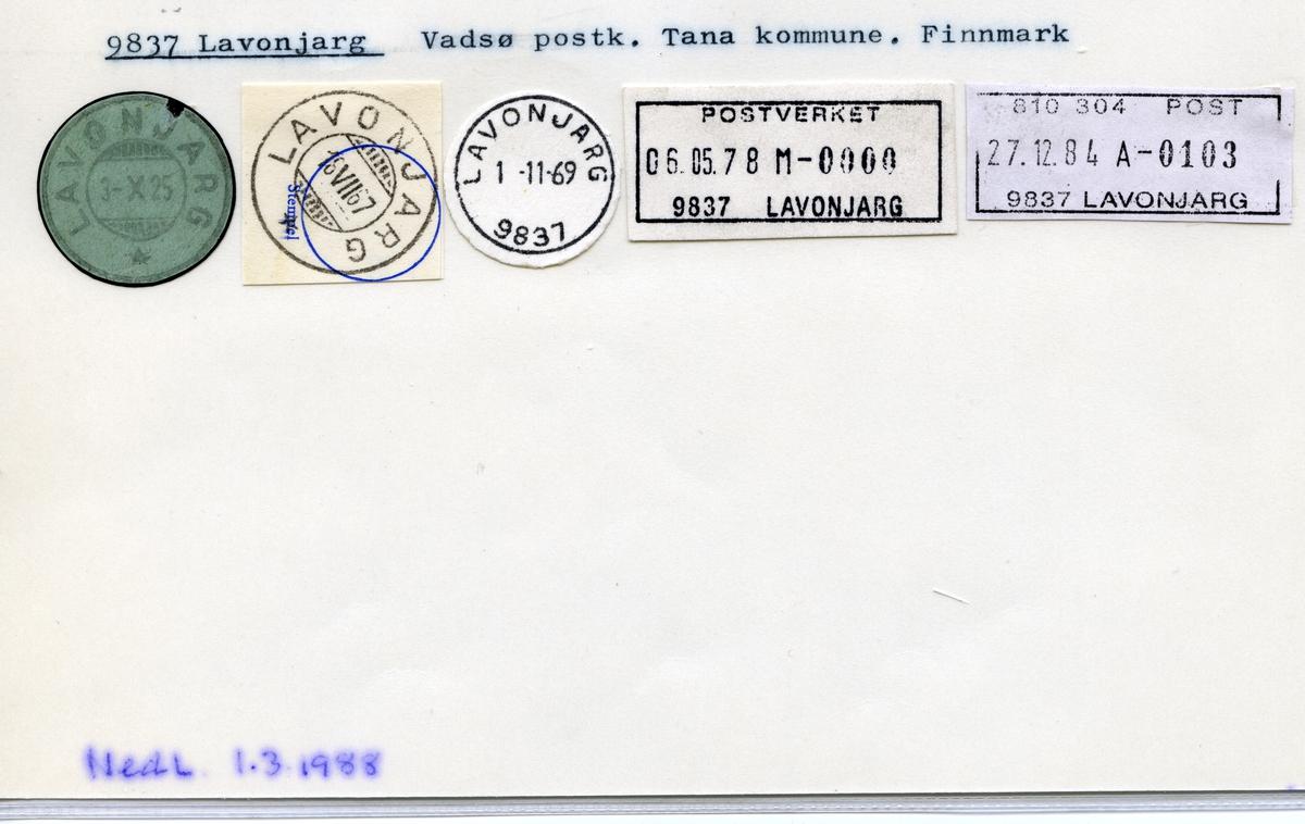 Stempelkatalog 9837 Lavonjarg, Vadsø, Tana, Finnmark