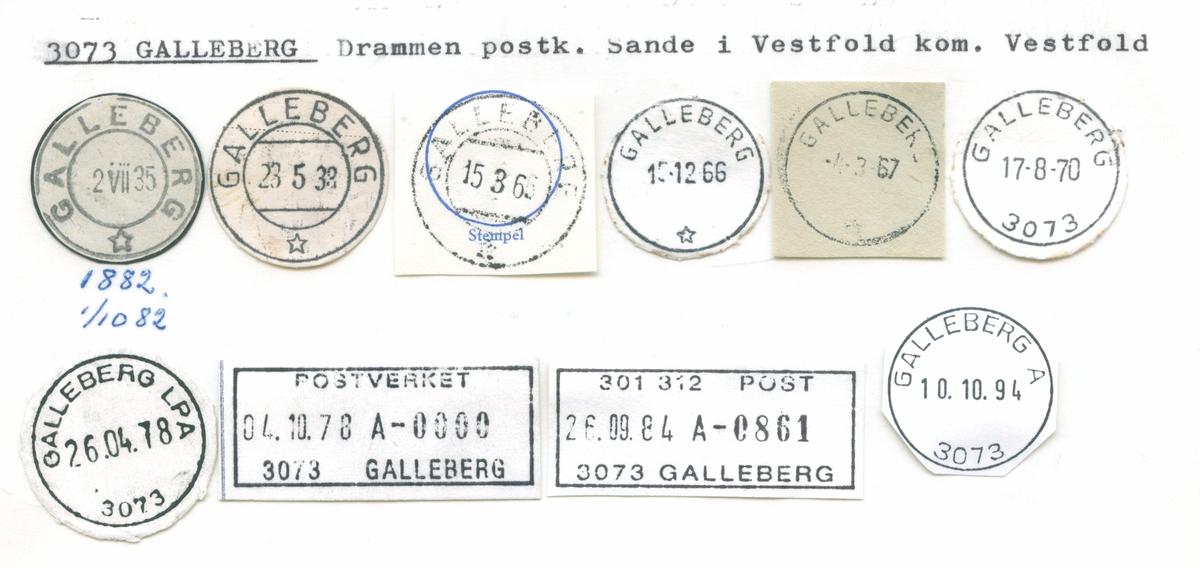 Stempelkatalog 3073 Galleberg, Drammen, Sande i Vestfold, Vestfold