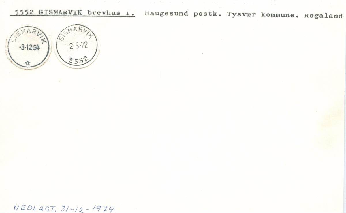 Stempelkatalog 5552 Gismarvik, Haugesund, Tysvær, Rogaland