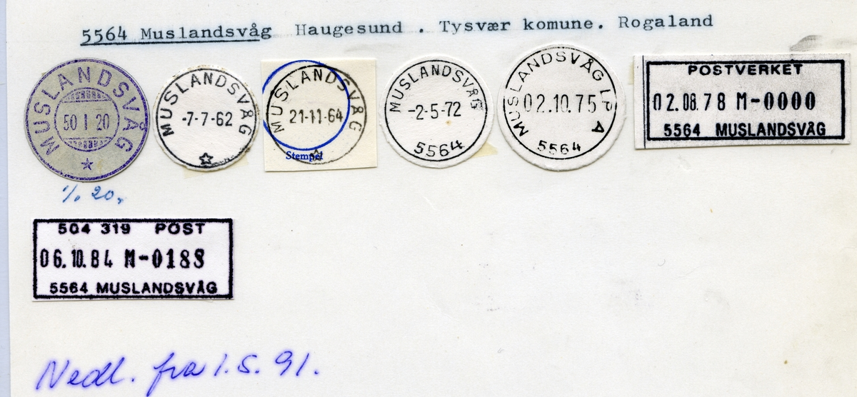 Stempelkatalog 5564 Muslandsvåg, Tysvær kommune, Rogaland