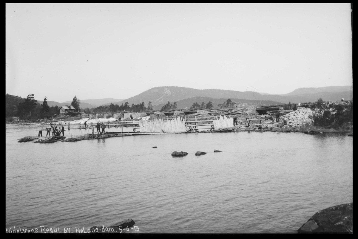 Arendal Fossekompani i begynnelsen av 1900-tallet CD merket 0474, Bilde: 64 Sted: Nelaug Beskrivelse: Damanlegget